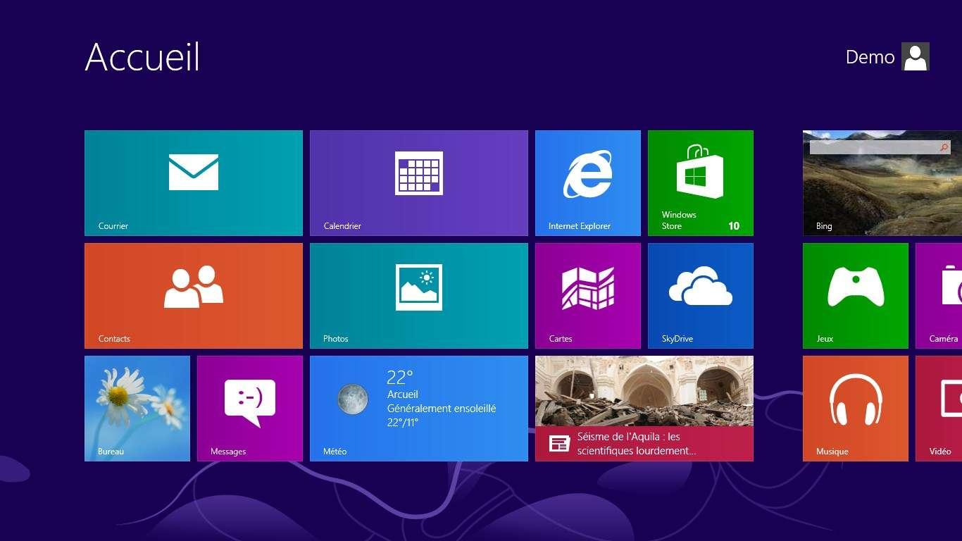 Aperçu de Windows 8, précurseur du flat design
