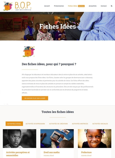 Capture d'écran du site web de la Boîte à Outils du Prescolaire