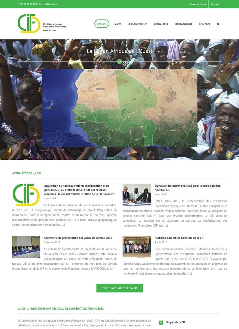 Capture d'écran de la page d'accueil du nouveau site web de la CIF