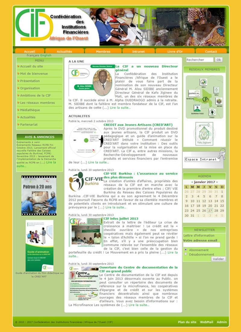 Capture d'écran de la page d'accueil de l'ancien site web de la CIF