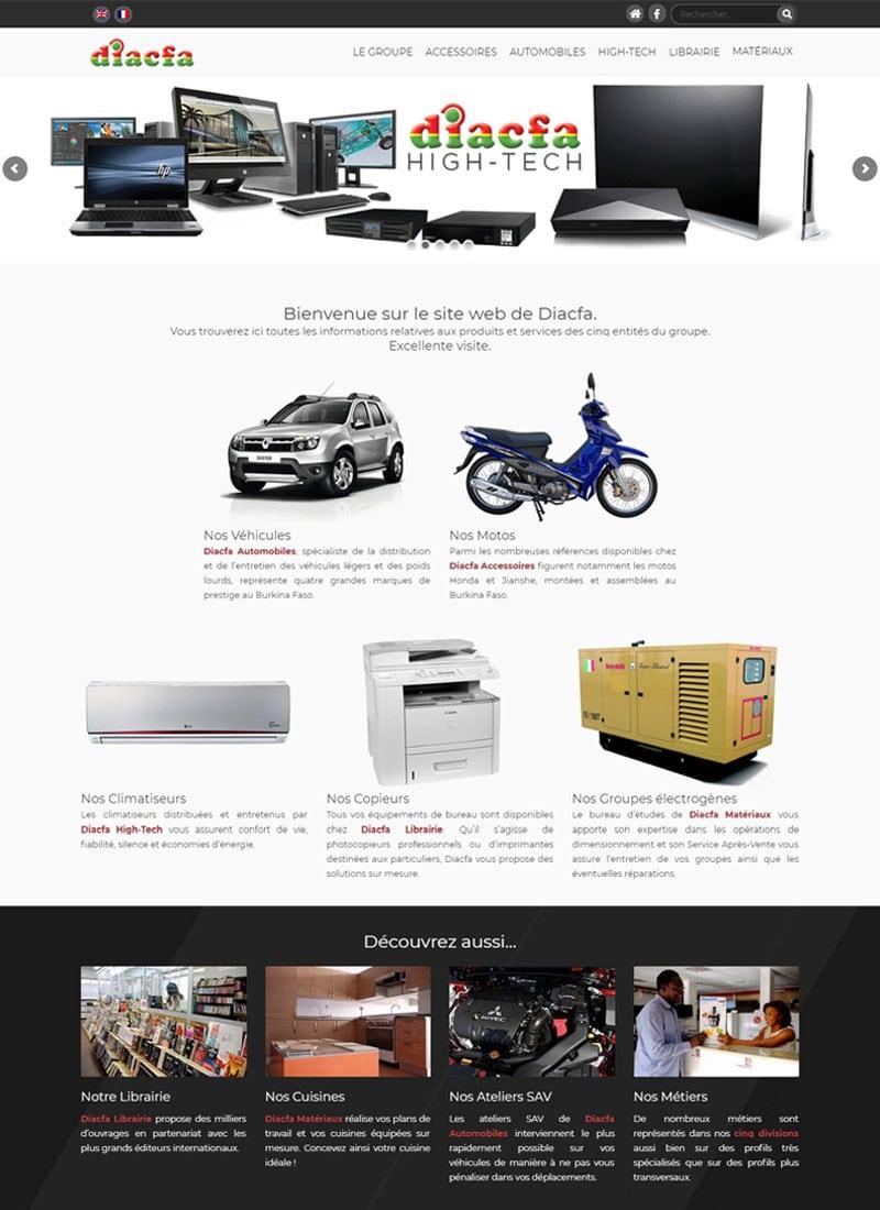 Capture d'écran de la page d'accueil du site web de Diacfa