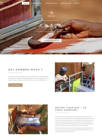 Page d'accueil du site web d'ADAJA