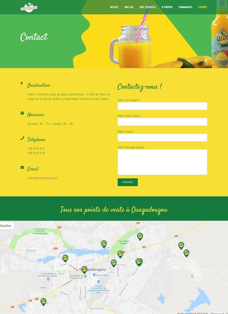 Page contact du site web d'Agro Deogracias