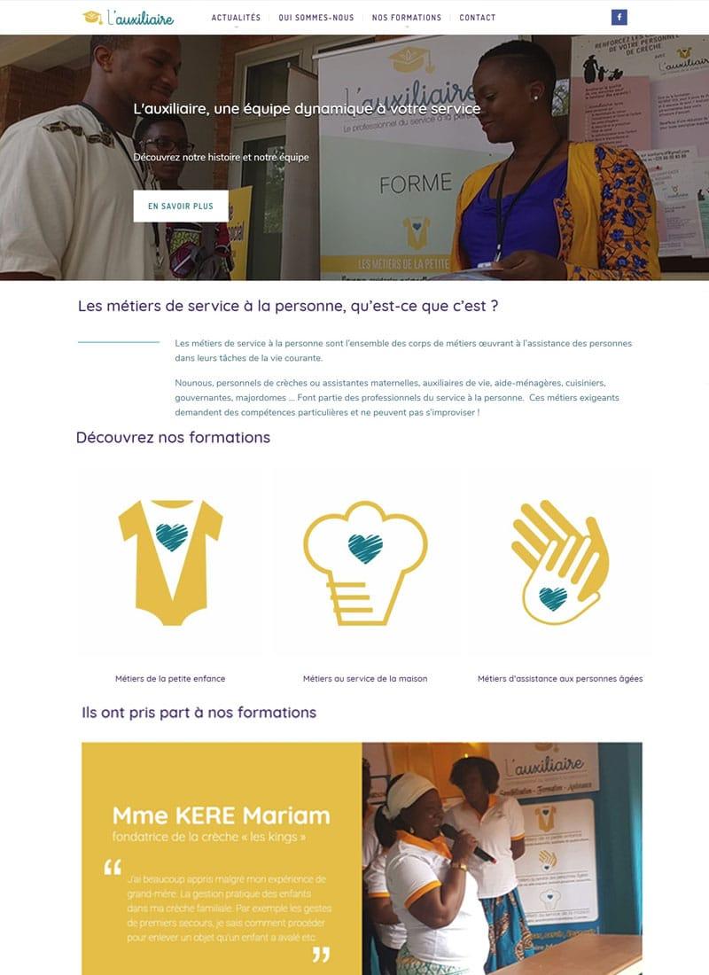 Page d'accueil du site web de L'auxiliaire
