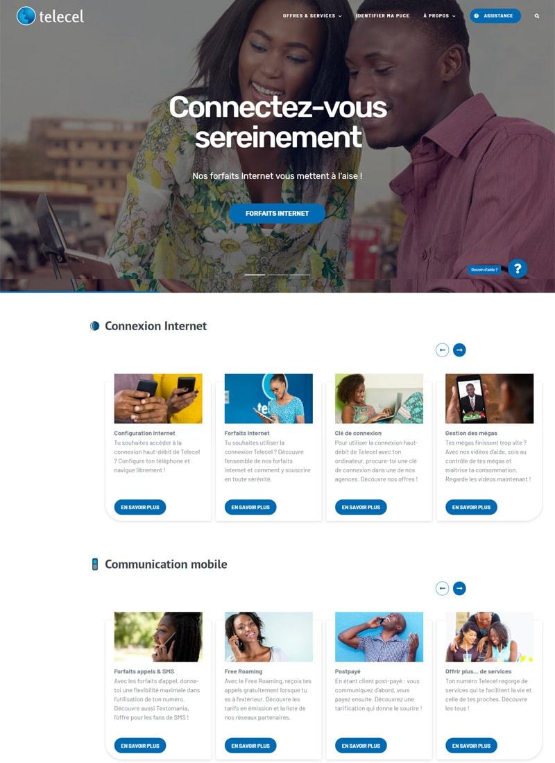 Page d'accueil du site web de Telecel Faso