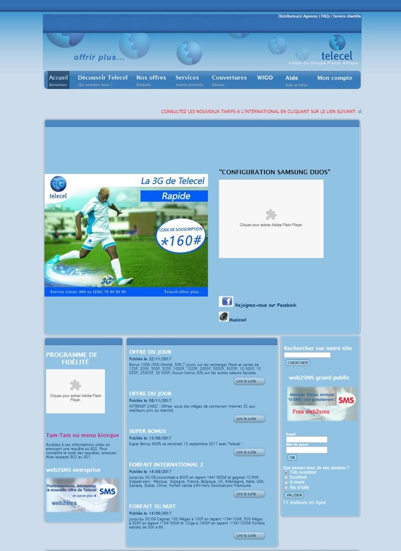 Ancien site web de Telecel Faso