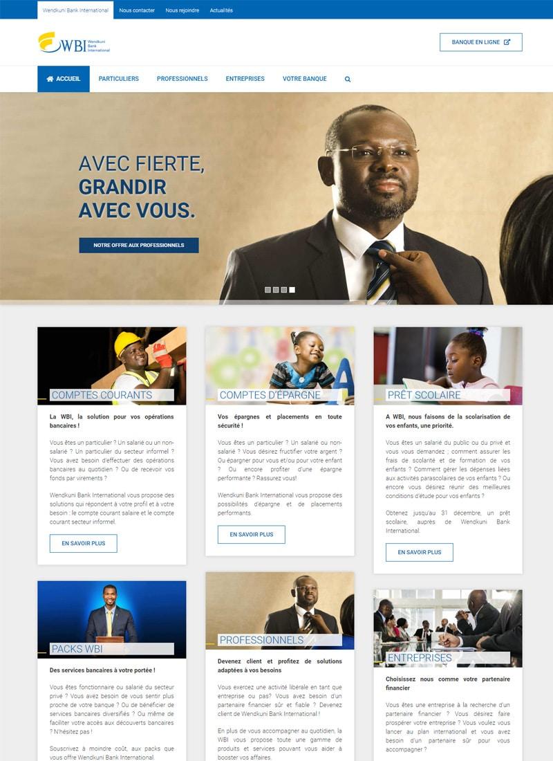 Aperçu de la page d'accueil du site web de WBI